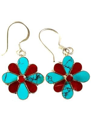 Blooming Flower Inlay Earrings with Coral