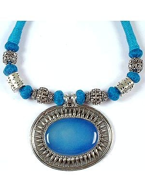 Blue Chalcedony Necklace with Matching Cord