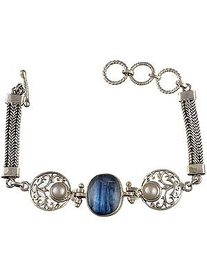 Blue Quartz Bracelet with Pearl