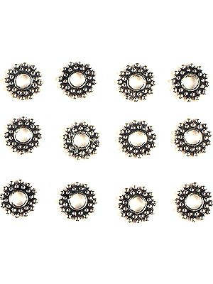 Circular Beads with Granular Rays (Price Per Six Pieces)