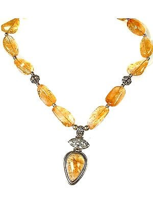 Citrine Beaded Necklace with Central Pendant