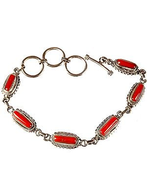 Coral Bracelet with Toggle