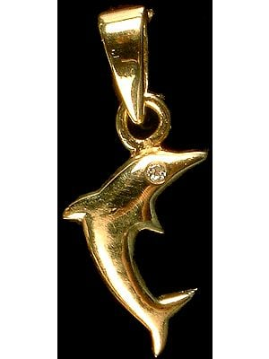 Designer Dolphin Pendant with Diamond Eye