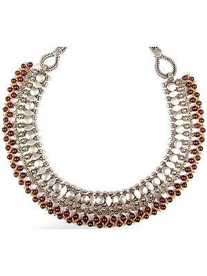 Designer Necklace from Rajasthan with Gold-Plated Beads, Peridot and Garnet