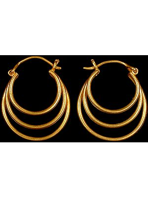 Designer Triple Hoop Earrings