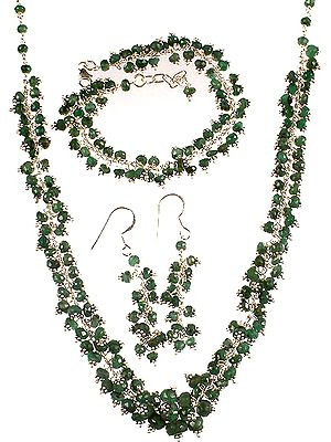 Emerald Necklace, Bracelet and Earrings Set