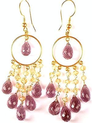 Faceted Amethyst Drop Hoop Chandeliers with Citrine