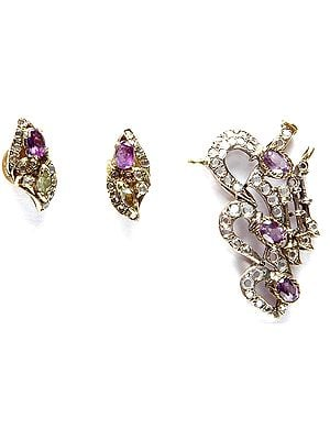 Faceted Amethyst Pendant with Earrings