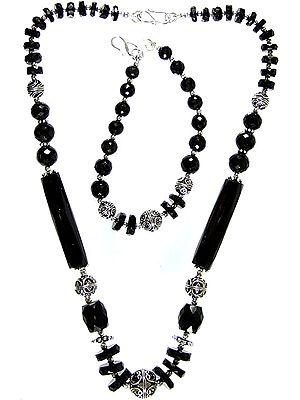 Faceted Black Onyx Necklace with Bracelet Set
