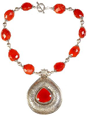 Ten Tumble Carnelian Necklace with Teardrop