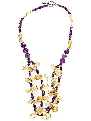 Faceted Citrine and Amethyst Necklace