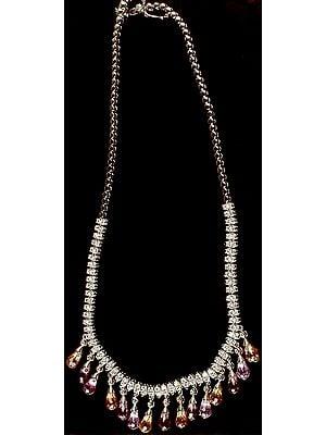 Faceted Cubic Zirconia Designer Dangling Drop Necklace