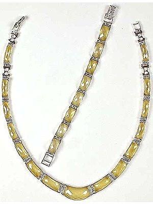Faceted Cubic Zirconia Necklace & Bracelet Set