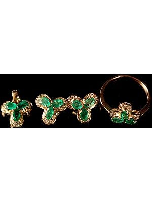 Faceted Emerald Pendant with Tops and Finger Ring Set