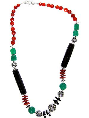 Faceted Gemstone Necklace with Matching Bracelet Set (Black Onyx, Green Onyx and Carnelian)