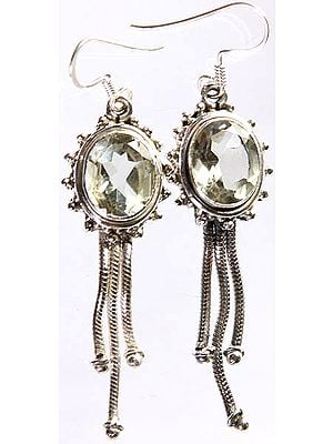 Faceted Green Amethyst Earrings with Charms