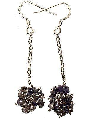 Faceted Iolite Dangling Bunch Earrings