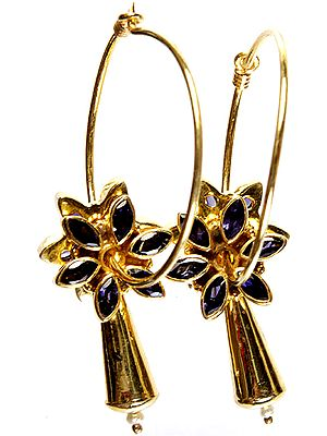 Faceted Iolite Gold Plated Hoop Earrings