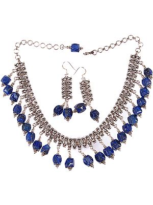 Faceted Lapis Lazuli Necklace with Matching Earrings