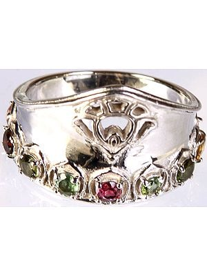 Faceted Multi-color Tourmaline Ring
