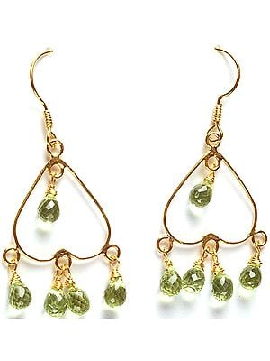 Faceted Peridot Drop Chandeliers