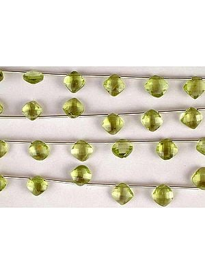 Faceted Peridot Rhombuses
