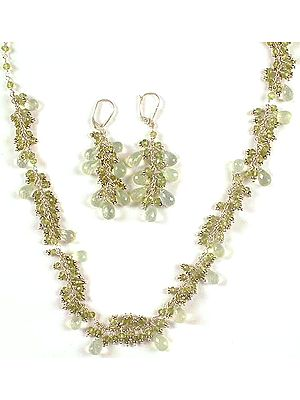 Faceted Prehnite Drop Necklace & Earrings Set with Peridot