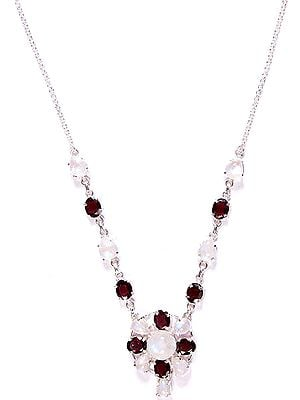 Faceted Rainbow Moonstone and Garnet Necklace