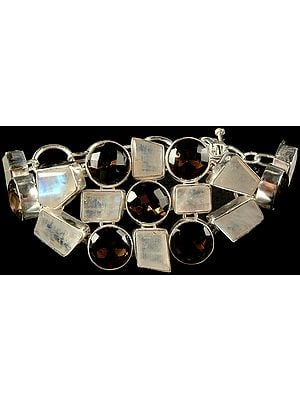 Faceted Rainbow Moonstone and Smoky Quartz Bracelet