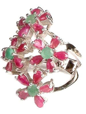 Faceted Ruby & Emerald Ring