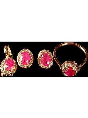 Faceted Ruby and Diamond Pendant with Tops and Finger Ring Set