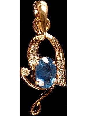 Faceted Sapphire Pendant with Diamonds
