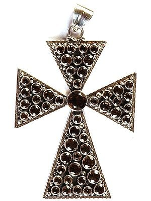 Faceted Smoky Quartz Cross Pendant