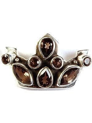 Faceted Smoky Quartz Crown Pendant