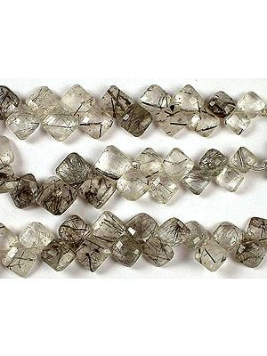 Faceted Tourmalinated Quartz Rhombus