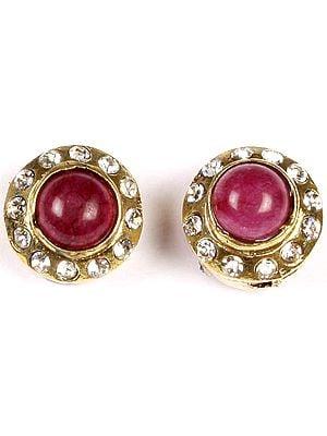 Faux Ruby Victorian Post-type Ear Studs Earrings with Cut Glass