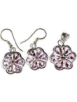 Fine Cut Amethyst Flower Pendant with Earrings Set