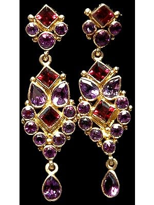 Fine Cut Amethyst Post Earrings with Garnet