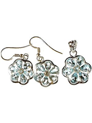 Fine Cut Blue Topaz Flower Pendant with Earrings Set