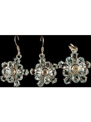 Fine Cut Blue Topaz Pendant & Earrings Set