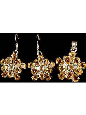 Fine Cut Citrine Pendant & Earrings Set
