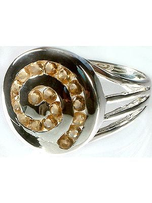 Fine Cut Citrine Spiral Ring