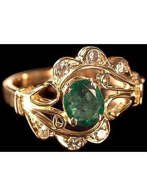 Fine Cut Emerald Ring with Diamonds