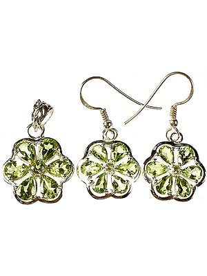 Fine Cut Peridot Flower Pendant with Earrings Set