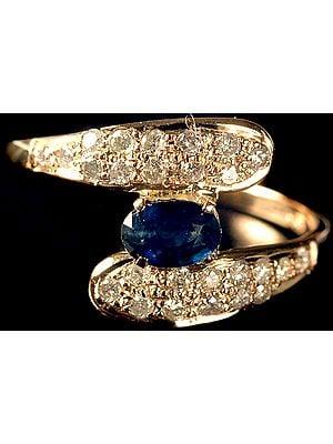 Fine Cut Sapphire Ring with Diamonds