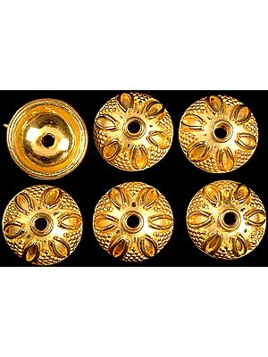 Floral Gold Plated Caps (Price Per Pair)