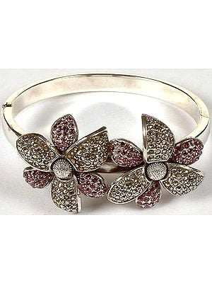 Flower Bracelet with Cubic Zirconia & Marcasite