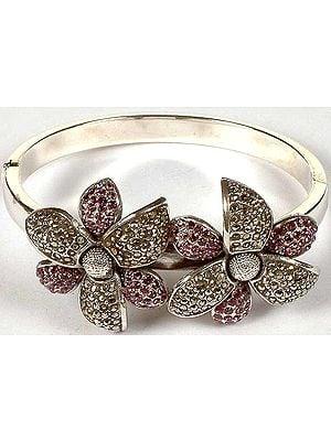 Flower Bracelet with Cubic Zirconia & Marcasite