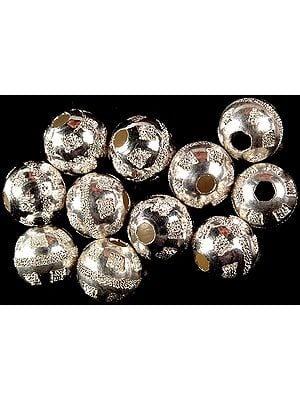 Frosted Balls of Sterling Silver (Price Per Pair)