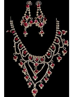 Fuchsia Necklace with Earrings